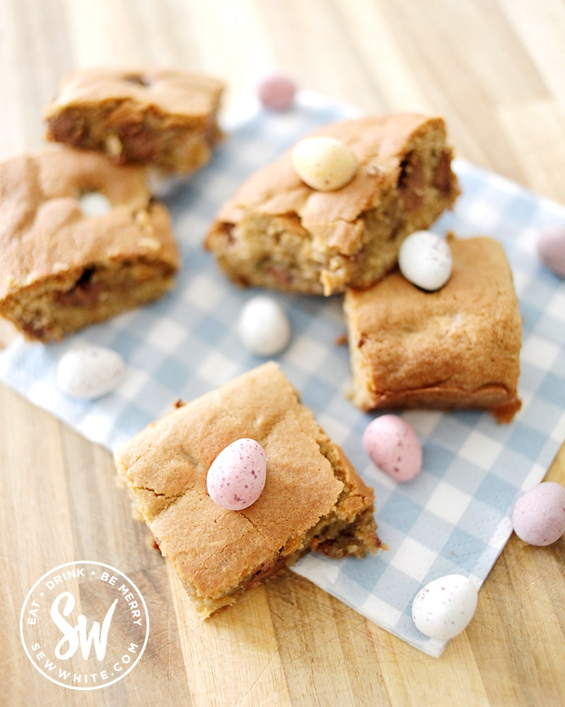 easy cookie sheet pan recipe for Easter studded with mini eggs and chocolate eggs