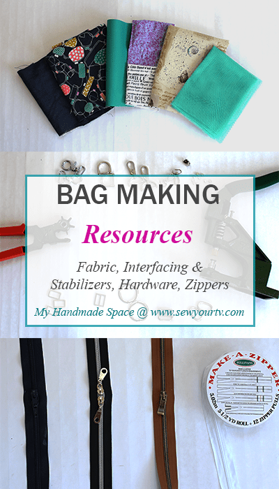 Bag making, bag fabric,bag hardware, bag zippers, bag interfacing and stabilizers.