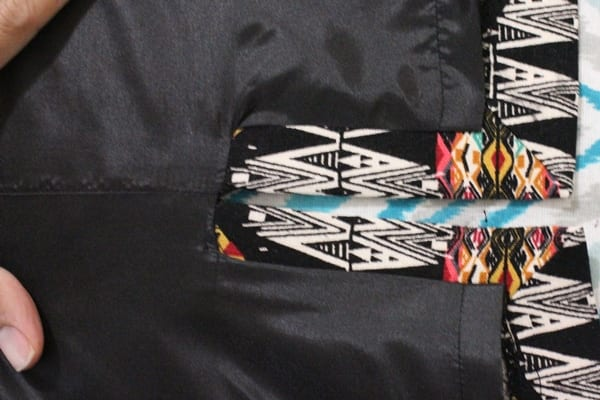 pencil skirt lining with mitered hem