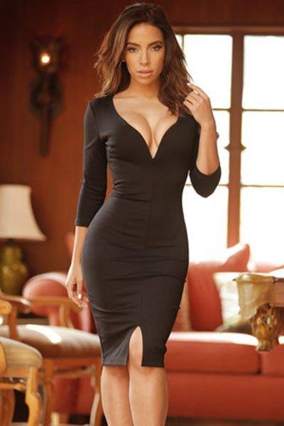 Long Sleeve Black Lace Mini Dress