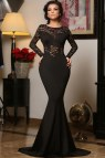 Long Sleeve Black Mermaid Prom Dresses