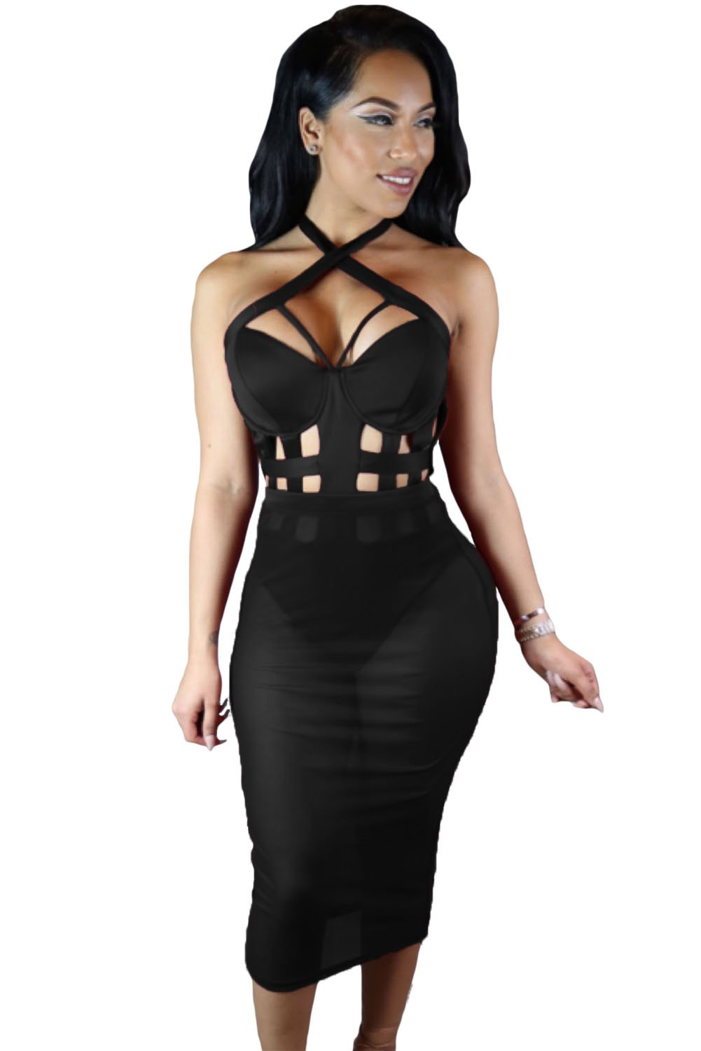 Black Sleeveless Short Bodycon Cutout Dress  Online Store for Women Sexy Dresses