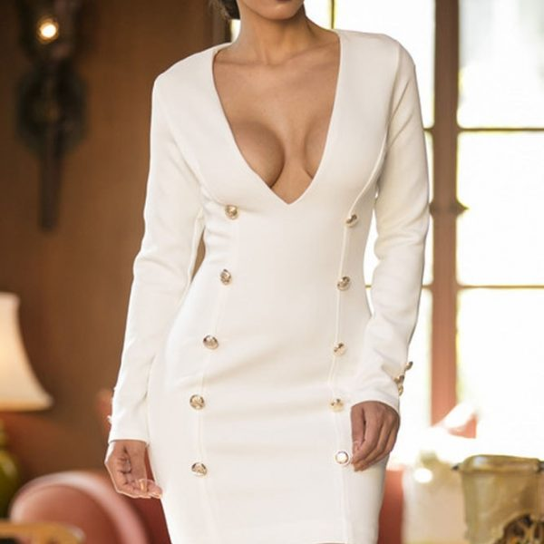 White Long Sleeve Deep V Bodycon Mini Dress  Online Store