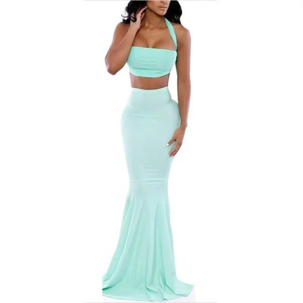 Women Party Light Blue Mermaid Crop Top And Skirt - Online