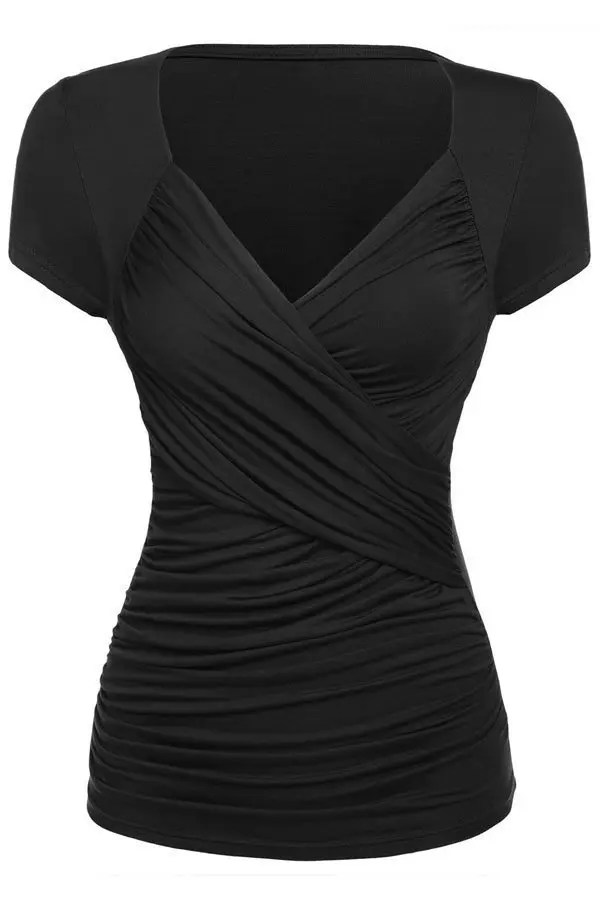 Black Ruched Short Sleeve Summer Women Dressy Tops  Online Store for Women Sexy Dresses