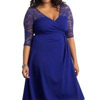 Cheap Blue Trendy Lace Plus Size Cocktail Dresses - Online ...