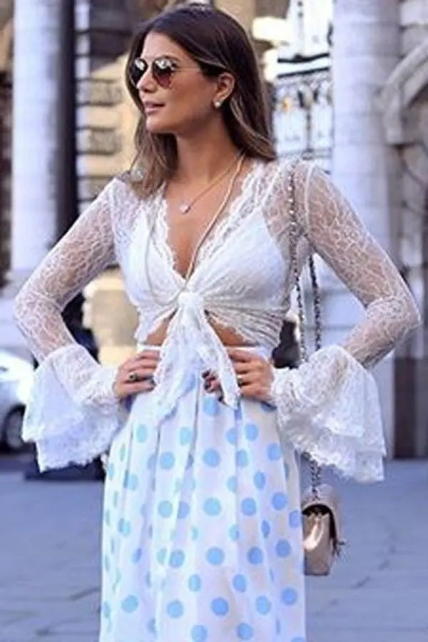 Sexy White Sheer Lace Front Tie Crop Top  Online Store for Women Sexy Dresses