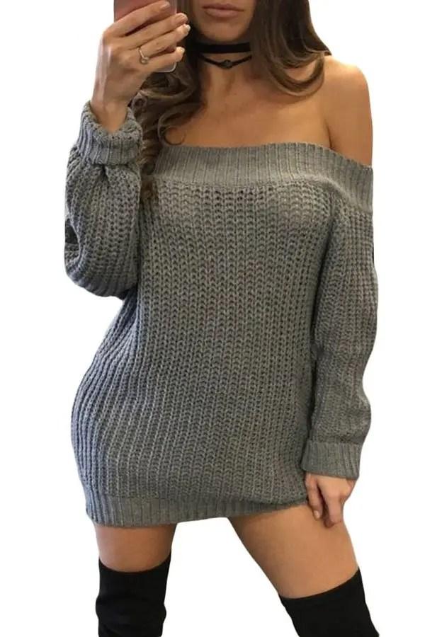 Hualong Women Beautiful Off The Shoulder Sweater  Online