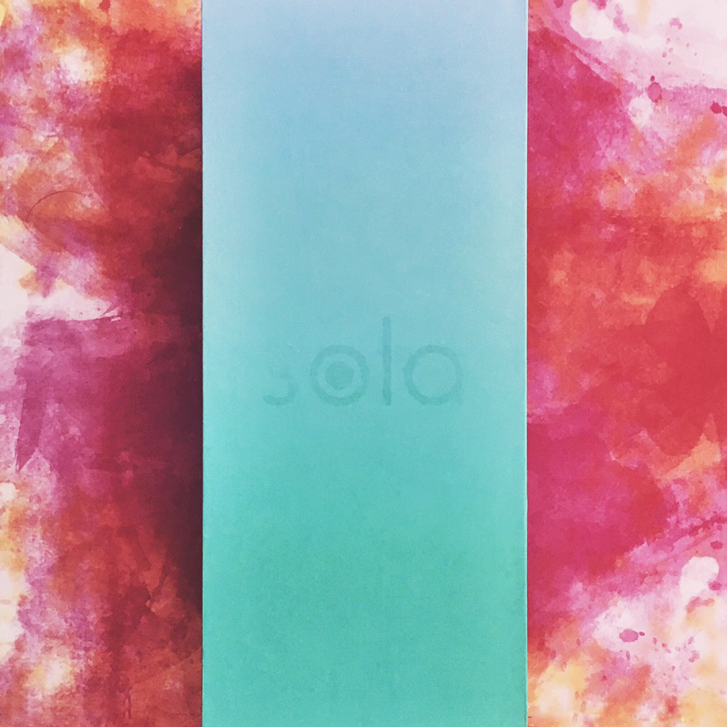 above view of blue Sola branded box