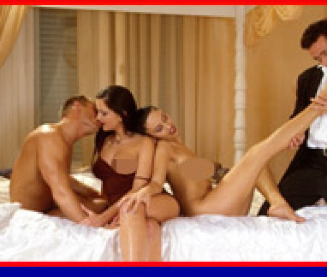 Sexy Couple Kissing Fantasy Of Group Sex On A Four Poster Bed