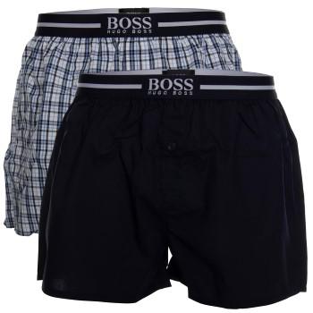 BOSS Woven Boxer Shorts With Fly Kalsonger 2P Mörkblå bomull Large Herr