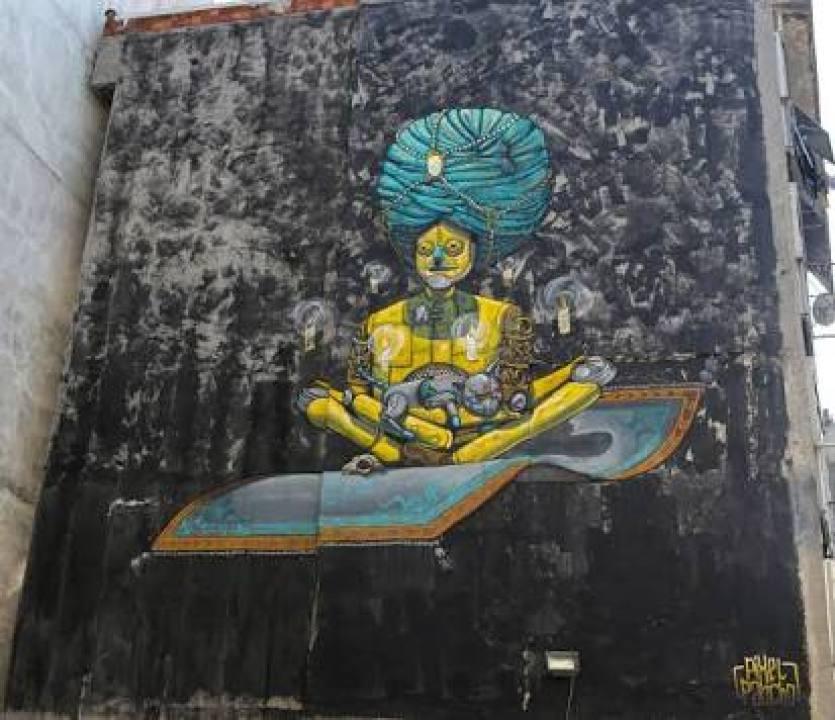 Pixel Pancho'nun bu muralı çarpık kentleşmeye kurban gitmiş