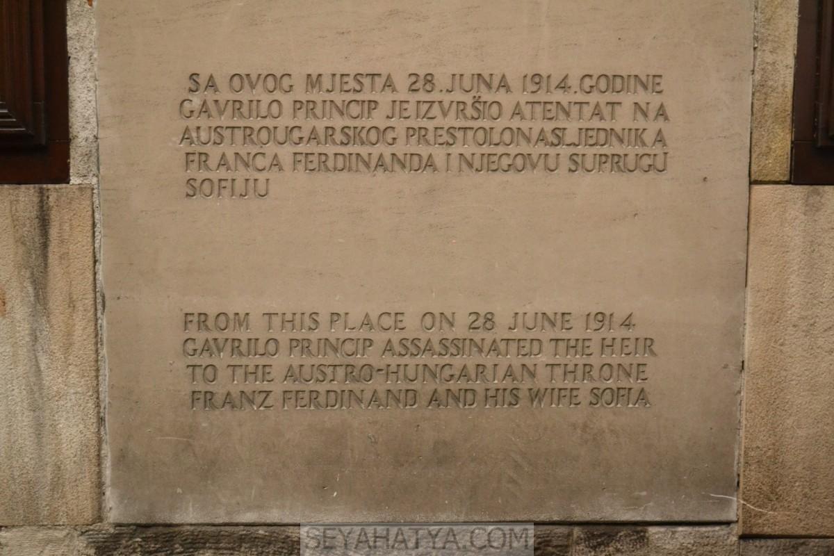1. Dünya Savaşın Başladığı Nokta; Latin Köprüsü, Saray Bosna