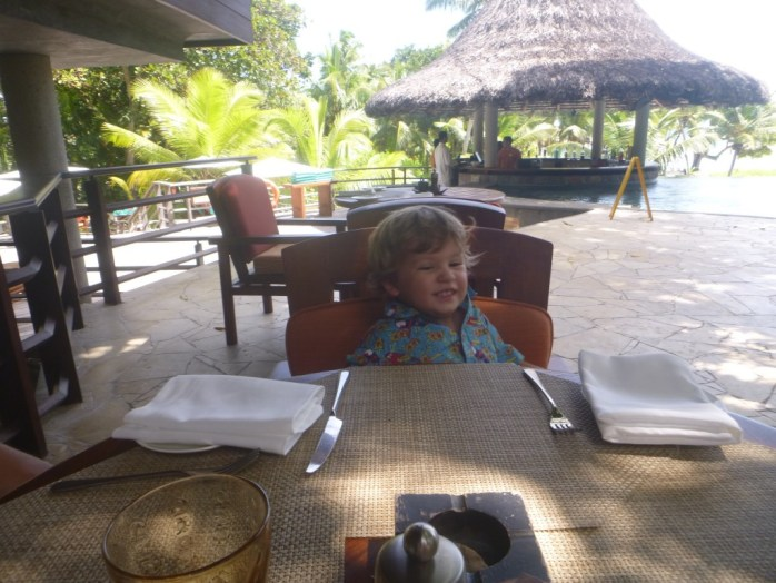 A perfect afternoon lunch at a hotel pool Praslin Seychelles