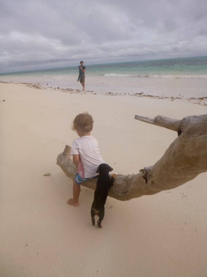 Family walk on the beach, praslin seychelles