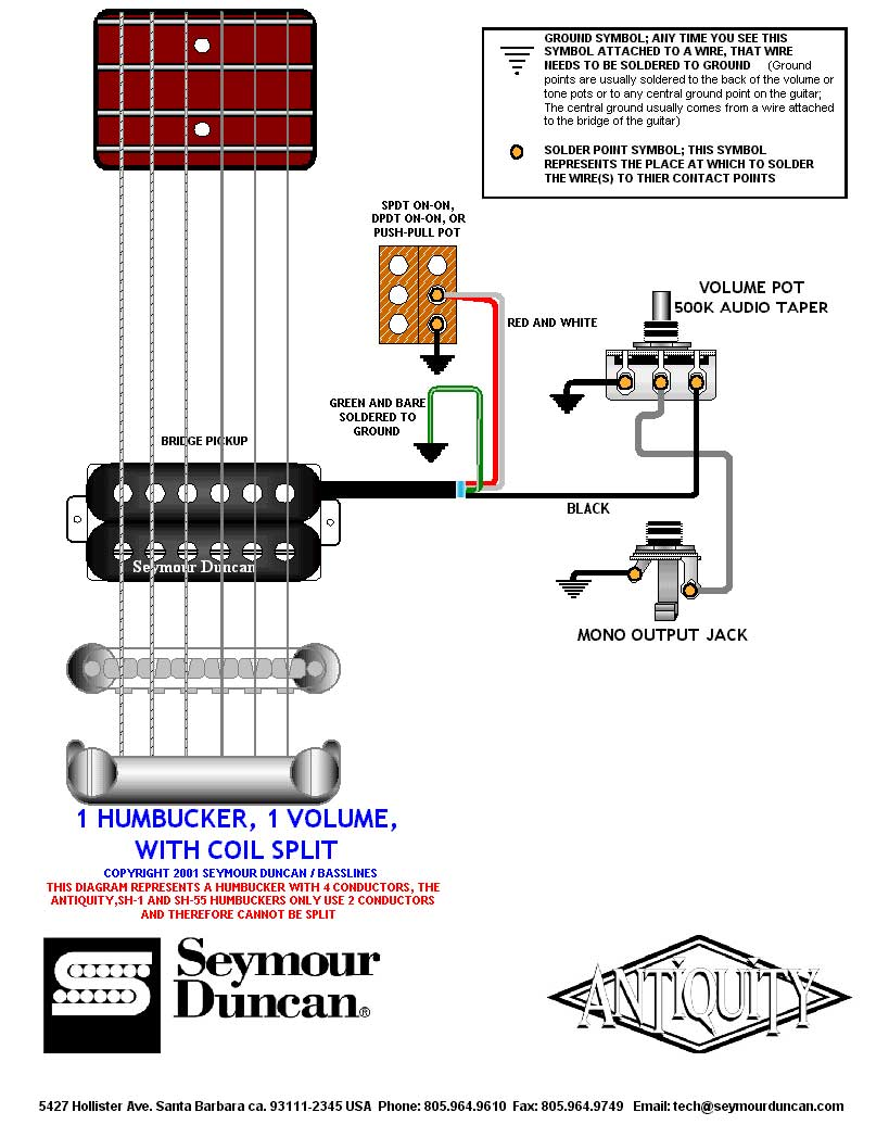 medium resolution of  1 humbucker 1 volume 1 split switch