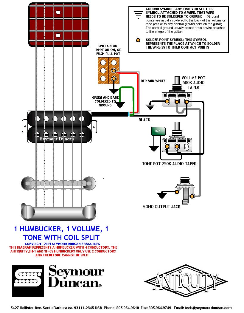 medium resolution of  1 humbucker 1 volume 1 tone 1 split switch