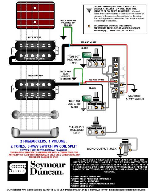 small resolution of  2 humbuckers 5 way switch 1 volume 2 tones 1 coil split switch