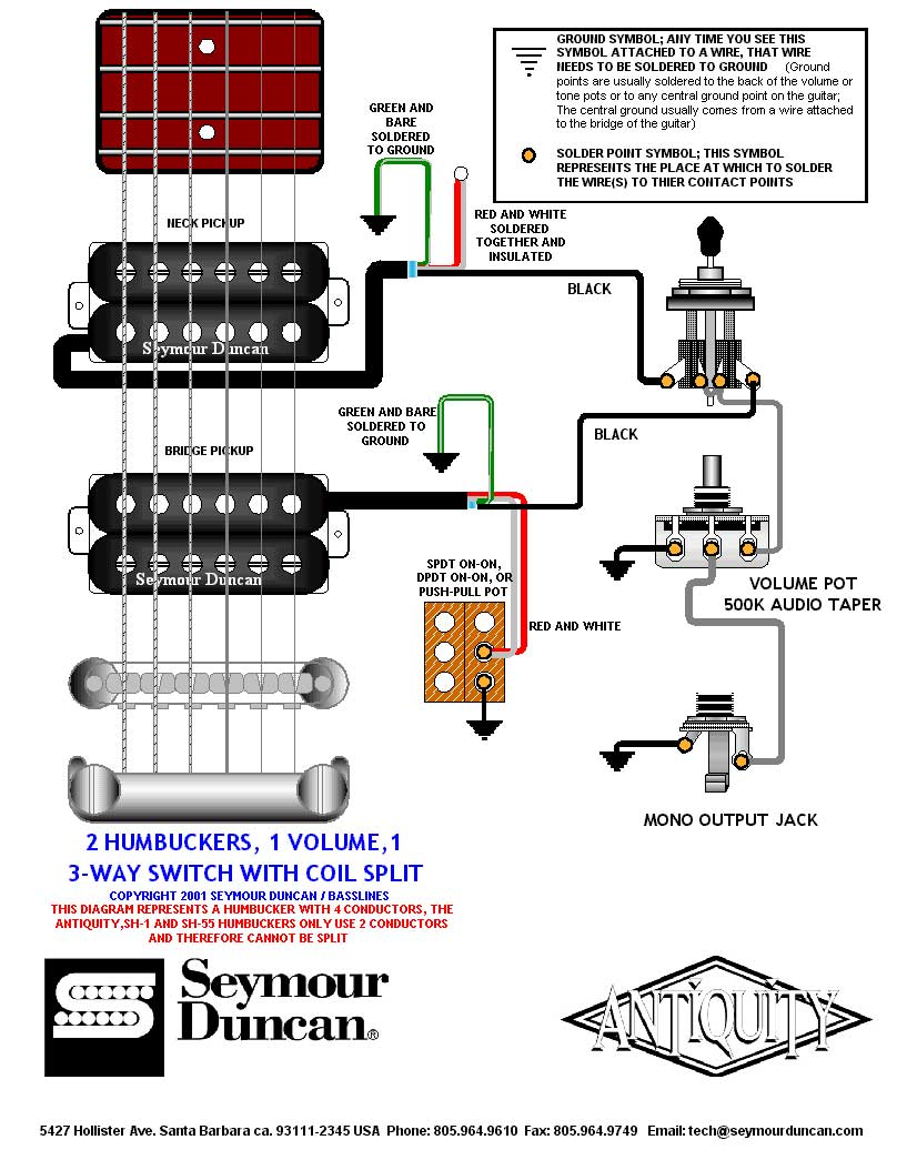 hight resolution of guitar wiring diagram 2 humbuckers 3 way switch split coil wiring seymour duncan coil tap wiring diagram