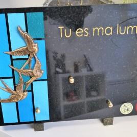 Plaque funéraire vitraux bleu turquoise 50772
