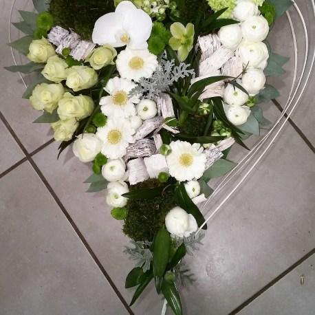Cœur roses blanche