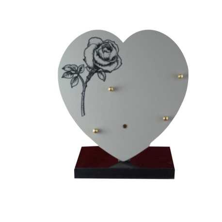 plaque funéraire céramique coeur 1 rose