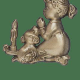 ORNEMENT EN BRONZE ENFANT AVEC CHIEN_4575