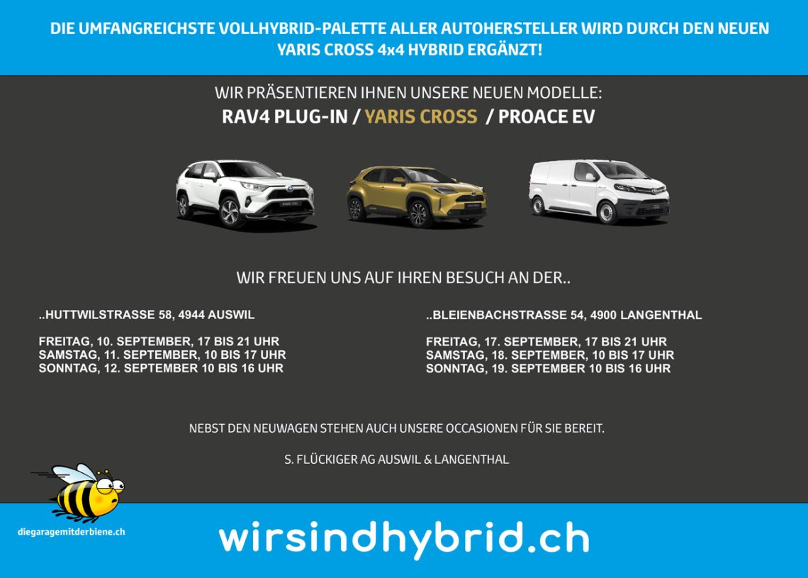 flückiger Autohaus - Einladung Herbst-Ausstellung 2021 Auswil & Langenthal