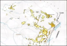 A Vangold Corp. map showing the extent of gold concessions in northeastern Congo, with an arrow denoting the Vangold property on the DRC-Uganda border, making it clear why there is so much bloodshed in DRC's Orientale Province. – Image from Vangold website