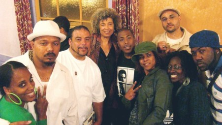 Kulwa, Adimu, Jack Bryson, Angela Davis, Minister of Information JR, Chela Simone, Ambassador Franco, Nakiya and Mistah F.A.B. were all a part of making Mumia's 55th birthday and book release party in Oakland a success. - Photo: Courtesy POCC