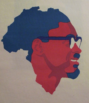 "Patrice Lumumba, his face shown filling the map of Africa, symbolizes independence. In this speech, with the king of Belgium in the audience, he stated, ""The Congo's independence marks a decisive step towards the liberation of the entire African continent."""
