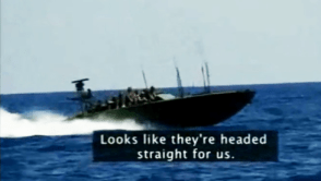 """This frame near the end of the video shows the Israeli Navy about to board the Free Gaza boat, """"Spirit of Humanity,"""" and brutally arrest the 21 people aboard. – Video: Ricenpeas.com"""