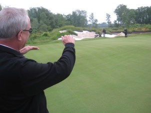 In June 2009, Mark Hesemann, managing director of Evergreen Development, shows off one of the holes at Harbor Shores scheduled to open this month.