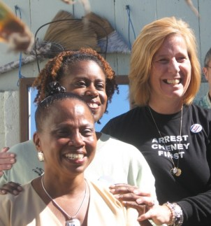 Supporting Dr. Ahimsa Sumchai at her fundraiser in the Bay View's back yard on Oct. 6, 2007, during her mayoral campaign, are Cynthia McKinney and Cindy Sheehan. – Photo: John Morton