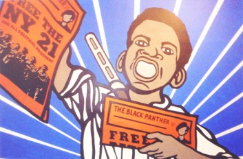 """Emory Douglas' """"Free the NY 21"""" from The Black Panther newspaper is one of his many great works on display at the New Museum in New York City."""