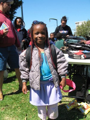 This little one is sure to start school with a smile and high hopes buoyed by her new backpack stuffed with new school supplies.