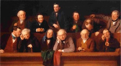 """Thanks to jury-rigging district attorneys, far too many Black defendants today are judged and sentenced by white male juries that look a lot like this one. – Painting by John Morgan, """"The Jury"""""""