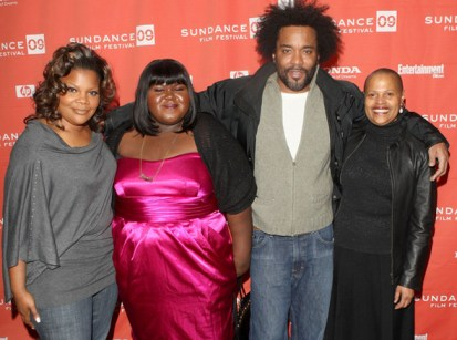 """Central figures in the film """"Precious"""" – Mo'Nique, who plays the mother, Mary; Gabourey """"Gabby"""" Sidibe, Precious; director Lee Daniels; and Sapphire, author of the novel, """"Push,"""" the basis of """"Precious"""" – gather at Sundance Jan. 16, 2009. – Photo: Jason Merritt, Getty Images"""