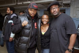 Two members of the Chicago POCC, Malik and Amanda, along with the International Chairman Fred Hampton Jr. were on hand for International Revolutionary Day '09. – Photo: He Shoots Lyfe Inc.
