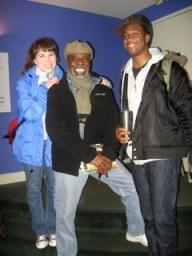 """Laura Morache, L. Peter Callendar and Lloyd Roberson II from the cast of """"My Children, My Africa"""" – Photo: Wanda Sabir"""