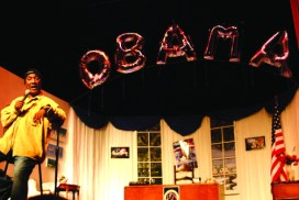 """Paul Mooney kicked off his """"Blackman … in the Whitehouse"""" national tour at the Black Rep during the last week of 2008. – Photo: TaSin Sabir"""