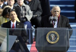 President Obama savors Rev. Joseph Lawery's inaugural benediction. – Photo: Alex Wong, Getty Images