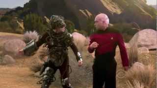 The Big Bang Theory does Star Trek the Next Generation.