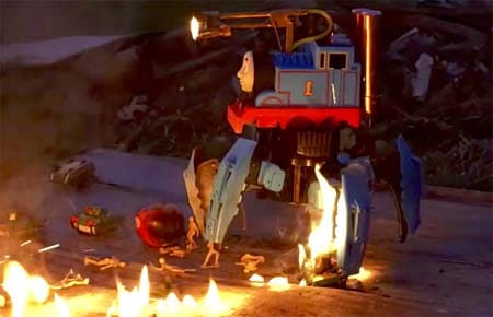 Evil Thomas The Tank Engine robot (with flame thrower).