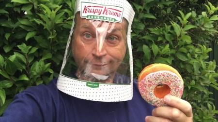 Repurpose a Krispy Kreme Doughnuts Box into a COVID face shield (MODS of delight).