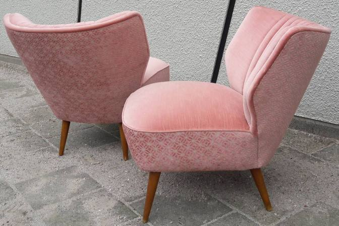 Gave vintage cocktail fauteuils in oud rose  Sfeerderij