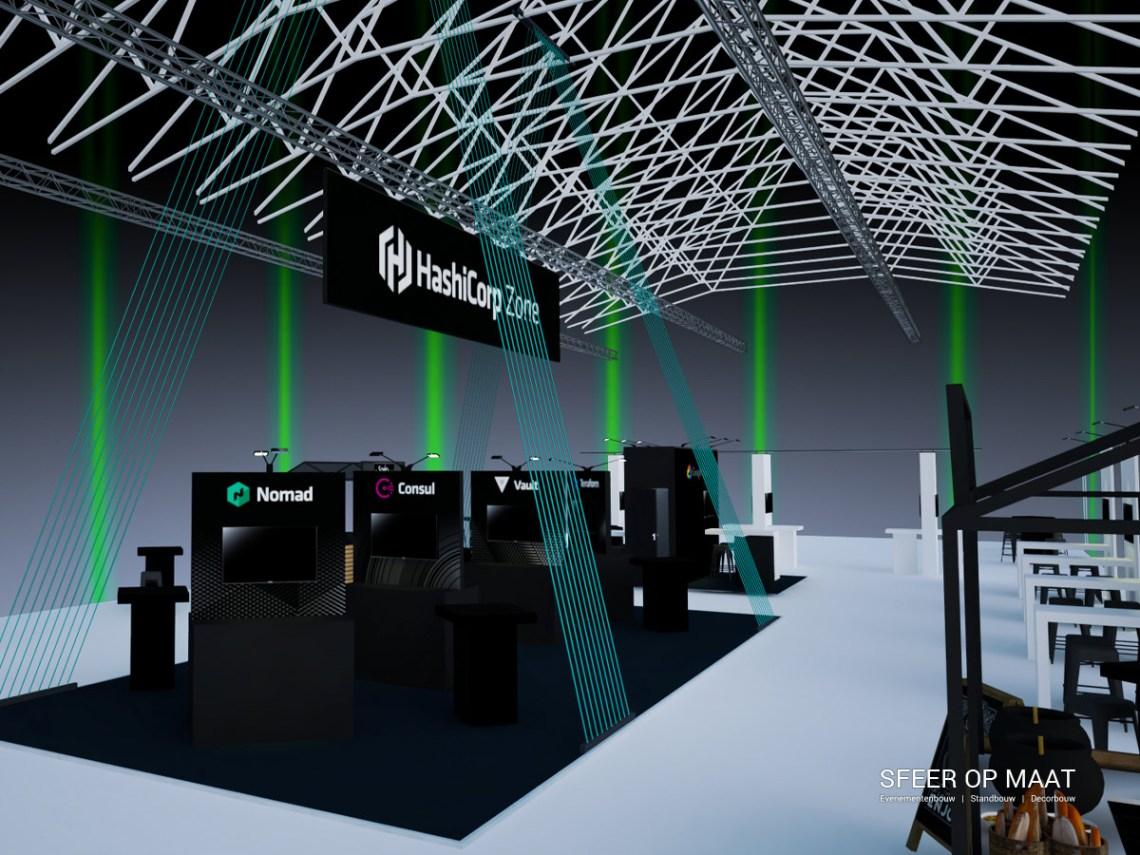 Simpele 3D impressie van de indeling van Hashicorp HashiConf EU 2019 in de Westergasfabriek. Hashicorp Zone met elastieken en stands rondom gebouwd door Sfeer op Maat.