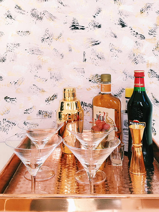 copper serving tray with waterford martini glasses / sfgirlbybay