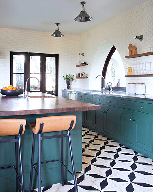 kitchen with black and white geometric tile floor / sfgirlbybay