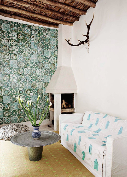 living room with moroccan tile wall / sfgirlbybay